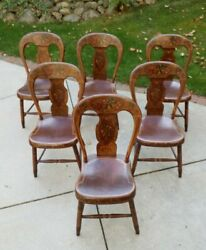 Set Of 6 Pennsylvania Balloon Back Stenciled Chairs Mid 18th Century, Beautiful
