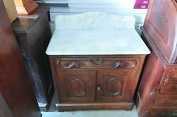 Antique Oak Washstand With Marble Top With Back Splash