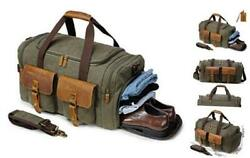 Canvas Duffle Bag Oversized Genuine Leather Military With Shoe Compartment+tag