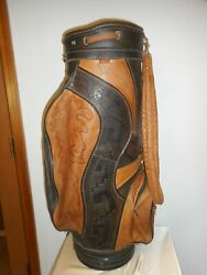 Vintage All Leather Hand-tooled Golf Bag - Native American Theme - Good Cond