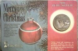 Vintage 86 Merry Christmas 1 Troy Ounce .999 Silver From Cameo Classic Sealed