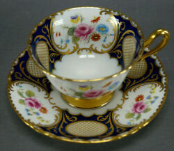 Shelley 17499 Pink Rose Floral Cobalt And Gold Bone China Tea Cup And Saucer