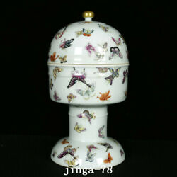 11.4 Chinese Porcelain Qing Dynasty Qianlong Mark Colour Enamels Butterfly Vase