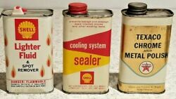 Vintage Shell Lighter Fluid Texaco Cans Gas And Oil Advertising Lot Of 3