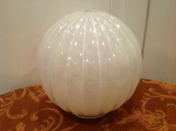 One Lamp Globe Mother Of Pearl Ribbed Diameter 7.5 Inches Used
