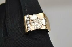 Amazing Ooak 14k Gold Solid Signed Mickey Mouse Diamond Cigar Band Ring