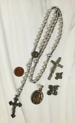 Vintage Lot Sterling Silver Religious Rosary Crosses Crucifix New Orleans Estate
