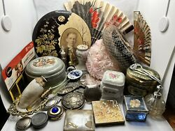 Vintage Vanity Lot Perfume Bottles Fans Hats Compacts Trinket Boxes Mirrors +++