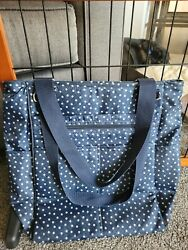 EUC Thirty One Take Two Tote Backpack Diaper Bag in Navy Dancing Dots $39.00