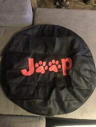 Jeep Spare Tire Cover 15andrdquo Red Paws Kitten Cat Dog Puppy Like New