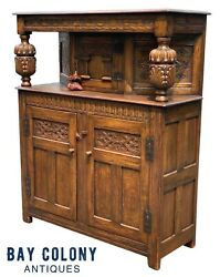 19th C Antique Tiger Oak Carved Jacobean Style Court Cupboard / Sideboard