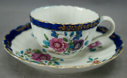 Dr Wall Worcester Hand Painted Multicolor Floral Cobalt And Gold Tea Cup And Saucer