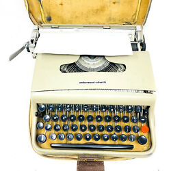 Vintage And Rare Underwood Olivetti Portable Typewriter W/ Case Made In Italy
