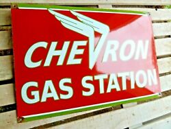 Chevron Porcelain Sign Advertising Vintage Gasoline 24 Inches Oil Old Gas Usa