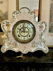 Large Antique Early Ansonia Royal Bonn Mantle Clock W/key Works And Chimes