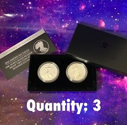 American Eagle 2021 One Oz Silver Reverse Proof Two-coin Set X3 In Hand