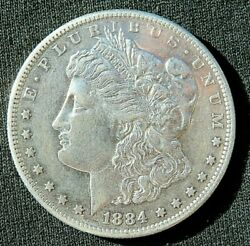 1884-s Morgan Silver Dollar Au, 26.73gr. Strong Date And Mint Mark