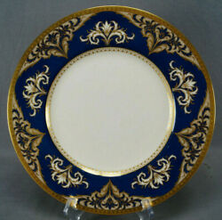 Minton Gold Encrusted Scrollwork And Marbleized Powder Blue 10 5/8 Dinner Plate