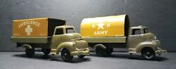Vintage Banner U.s. Army Ambulance And Troop Transport Tin Litho Toy Trucks Nice