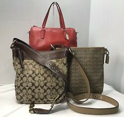 COACH lot 3 Red Leather Satchel Crossbody Leather Trim Crsbdy Suede Trim $57.99