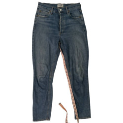 Agolde Womens Nico Cropped Jeans Blue Stretch Button Fly Denim Whiskered 26