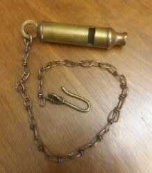 Antique Arkay Wwi Trench Military Police Whistle And Chain Brass Working Original