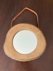 Anthropologie Hanging Mirror 10.5 Rustic Lodge Wood Frame Leather Strap
