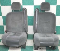 03-07 Gm Truck Left Right Gray Cloth Front Seat Headrest Seat Belts Oem Tracks