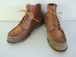 Vintage 1980s Red Wing Irish Setter Moc Toe Leather Boots 875 876 Size 11.5 D