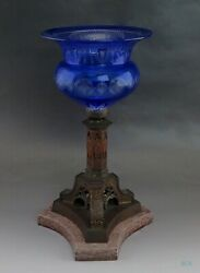 Late 19th Century Cobalt Acid Etched Glass Bronze Archangel Base Compote
