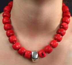 Gorgeous Cherry Red Coral Bead Sterling Silver Statement Necklace