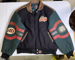 Vintage Mountain Dew Jh Design Leather/wool Button Up Varsity Jacket | Adult M