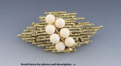 Eye-catching Pink Coral 14k Gold Brooch/pin