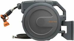 Retractable Hose Reel Wall Mounted Garden Heavy Duty With Automatic Rewind