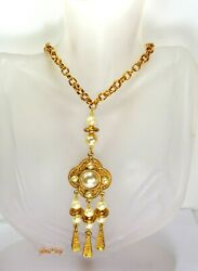 Egyptian Revival Style Necklace Gold Tone Faux Pearl Etruscan 1928 Jewelry