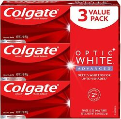 Colgate Optic White Advanced Teeth Whitening Toothpaste With Fluoride, 2 Hydrog