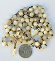 Antique French Art Nouveau Large Victorian Rosary Silver Mop Cross Beads
