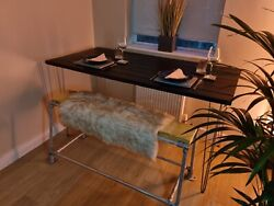 Industrial Vintage Upcycled Antique Door Hairpin Bar Table Scaffolding Bench Set