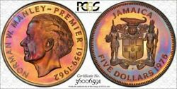 1975 Jamaica Five Silver Dollars Pcgs Pr67 Candy Color Toning Very Nice