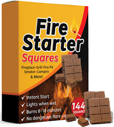 Fire Starter Squares 144 Larger Safe Fireplace Wood Stove Grill Camping Charcoal