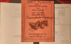 Allis Chalmers All Crop Drill Manual Instructions And Repair Parts List