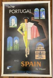 Pan Am Airlines Portugal And Spain By Clipper Original Poster Jean Carlu 50's