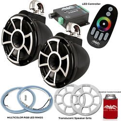 Wet Sounds Rev10b-sc Swivel Clamp Towers With Rgb Led Speaker Rings Grills-black