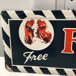 Vintage Ful O Pep Feed Tin Sign Poultry Farm Chicken Books Original 8x27.5