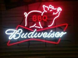 New Pig Bbq Grill Budweiser Bow Tie Real Neon Sign Beer Bar Light Wall Decor