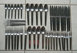 44 Pieces Hermes Paris Charniere Stainless Flatware Discontinued Service For 6+