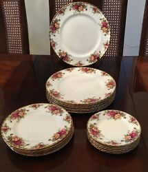 Royal Albert England Old Country Roses 8 Dinner Plate Salad Bread Set Lot