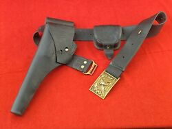 Civil War Indian Wars Officers Leather Belt With Eagle Buckle, Holster, Pouch