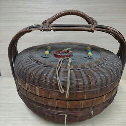 Antique Large Chinese Sewing Basket 13 Across-tassels-coins-stones. W/ Handle.