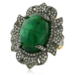 22.87ct Natural Emerald Pave Diamond 18kt Gold 925 Sterling Silver Ring Jewelry